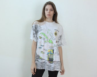 90s Caribbean Map Graphic Tee Shirt // Retro Blacklight Bahamas Surf Mens Womens - Extra Large