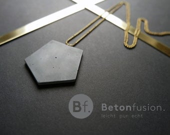 Concrete jewelry, pendant 'POLYGON' with brass chain, long, concrete, statement necklace, gold