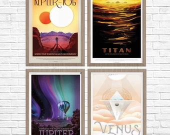 SPACE Posters, Group of 4, NASA Space Travel Poster, Nasa Poster