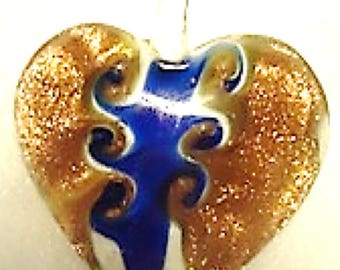 Gold and Blue Heart Murano Pendant - Murano Pendant - Murano Jewelry - Murano Necklace - Heart Jewelry - Heart Necklace