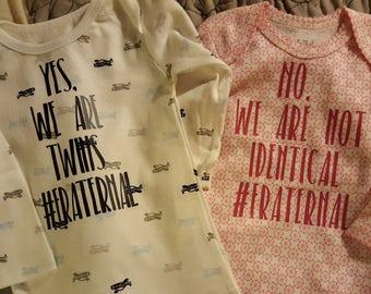 Boy Girl Twins Onesie Shirts
