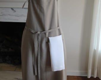 Bib Apron, Beige Linen with Hand Towel, Long