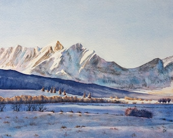 Original watercolor painting, landscape, mountain, French Alps