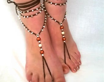 Barefoot Sandals, Brown Barefoot Beach Jewelry