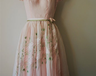 Gorgeous 1950s Baby Pink Embroidered Party Dress | Incredible Example of True Vintage Quality