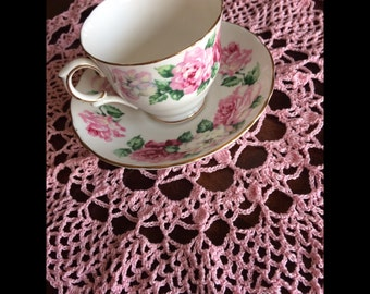 Baby pink doily- crocheted with love.