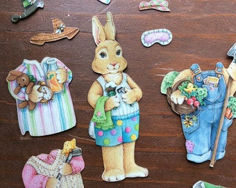 Magnetic Bunny Paper Doll | Refrigerator Magnets | Toy