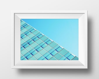 Architecture Print, Urban Art, Architectural Photography, Art, Diagonal, Geometric, Building Photography, Blue Print, Instant Download Art