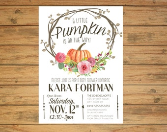 Printable Baby Shower Invitation: Pumpkin is on the Way!