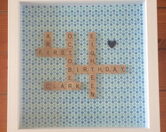 Personalised Scrabble Frame - First Birthday