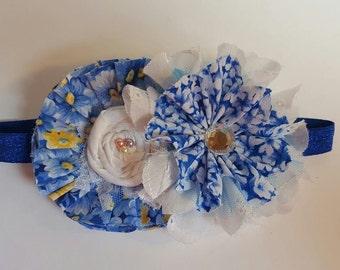 Shabby chic headband, Rolled rossette headband, Blue flower headband, Fabric flower headband, flower hair clip, Elegant headband,