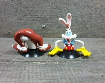 Vintage Roger Rabbit and stupid suction cups from the Who Framed Roger Rabbit movie by Disney movie 1987 figurine pvc plastic figure Doll
