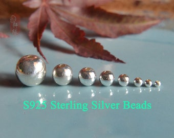2mm 118 pcs S925 Sterling Silver beads Smooth beads 2mm-8mm Spacer beads XY034
