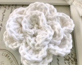 White Crochet Flower Magnet