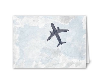 """Watercolor Painting Card - Plane Overhead (blank inside, 3 x 5"""")"""
