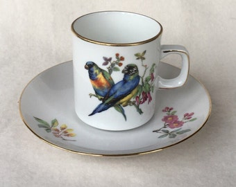 Eschenbach Bavaria-Germany Cup and saucer with Parrot and blossom branches