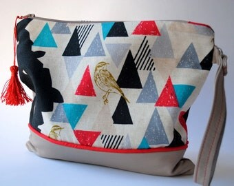 Soft leather pouch and cotton print ekino
