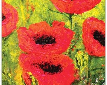 Red Poppy Card, Poppies, Flowers, Nature, Remembrance, Blank Card,