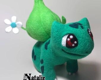 Pokemon cute Bulbasaur girl 19 cm felted toy