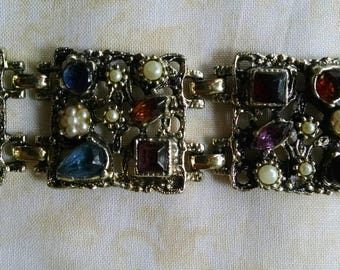 Vintage Bracelet and Earring Set, With Colorful Rhinestones