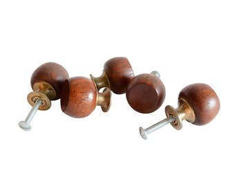 vintage Mid-Century round wooden drawer pulls - multiple available / antique wood drawer pulls