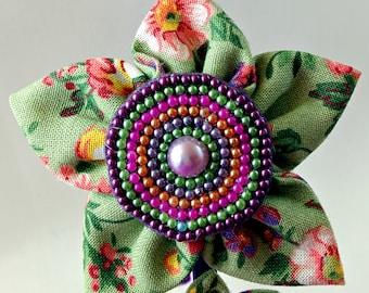 Handmade Green Fabric Flower Headband