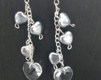 Silver chain drop heart earrings