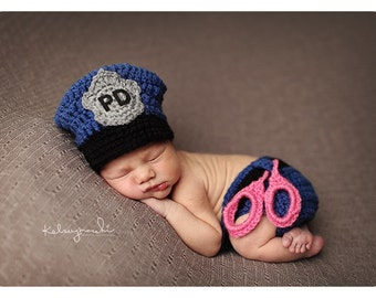 Newborn Baby Girl, Police Officer Hat, Handcuffs, Custom Made to Order