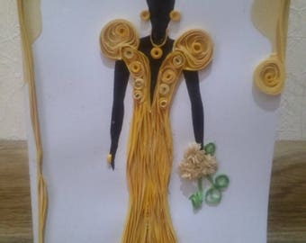 Quilling Card - Yellow Charm,  first anniversary, gift for her, anniversary jewelry, wedding gifts, girlfriend gift, prom, wedding