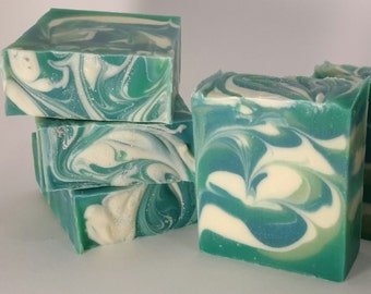 Aqua Swirl Handcrafted Soap with Organic Cocoa Butter