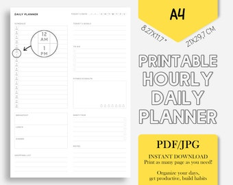 PRINTABLE daily planner /A4 daily planner: 8.27x11.7 inch/ Schedule, meal plan, today's goal, to do list, fitness&health, habit-task