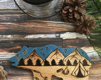 Woodburned Teepee Bear