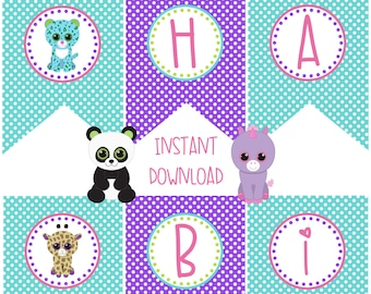 Pet Adoption Adopt a Pet Party Birthday Party Happy Birthday Banner Printable Puppy Kitten Stuffed Animals Panda Bear Unicorn