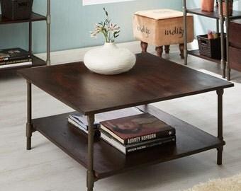 Santara dark mahogany wooden coffee table - Handmade
