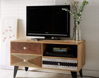 Sorio small media TV unit/cabinet - 100 % reclaimed wood - 3 drawer storage