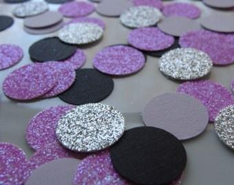 Purple, Black and Silver Confetti- 100ct- Purple Glitter Confetti, Purple Bridal Shower decor, Purple Glitter Wedding Confetti, Pale Purple