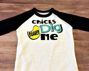 Custom Kids shirt, Baby Shirt, Onesie, Chicks Dig Me, Easter Shirt, Baby Shower Gift, Raglan Baseball Shirt, 3/4 Sleeve Shirt