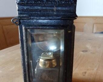 Antique fire dept tin lantern, Old Candle lantern, Candle holder, Vintage lantern, Collectible Lantern, Rustic Lantern, Retro Lantern,decor