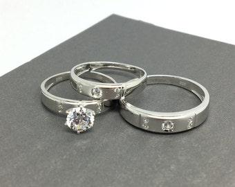 925 Sterling Silver Trio-Ring Set
