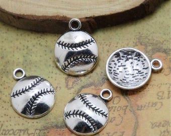 30pc -Baseball charms Softball charm silver tone  baseball charm pendants 18x15mm ASD0322