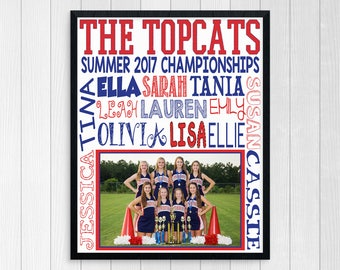 CHEERLEADING GIFTS ~ Cheerleader Gift ~ Cheer Coach Gift ~ Printable Cheer Subway Art Squad Photo Cheerleading Gym Poster ~ Cheer Squad Gift