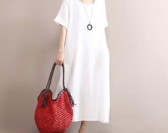 Loose cotton dress/ casual women girl maxi dress/ Short sleeve summer dress day dress wide freesize white beach midi sun elegant dress 28