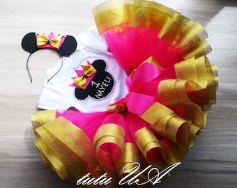 Hot Pink and Gold Minnie Mouse Birthday , Pink Gold Minnie First Birthday Girl Disney World 1 Birthday Personalized Birthday , Minnie tutu