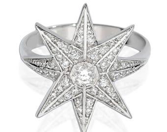 Star Diamond Ring, Alternative Engagement Ring, Unique Diamond Ring, Special Design Diamond Ring, Diamond Engagement Ring, Anniversary Rings