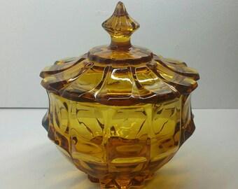 Amber Glass Candy Dish w/Lid