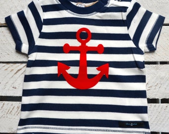 Mark Baby T-Shirt with a red anchor blue/white stripes