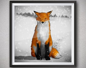 Anime fox Winter fox Fox art Animal art Printable artwork White snow Black paws Orange fur Closed eyes Downloadable print Illustration