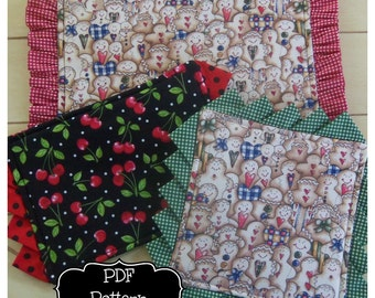 PDF Pattern:  Casserole Mats & Hot Pads ~ 3 sizes/2 edgings