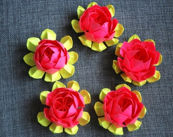 5 Creative Multicolor Paper Origami Lotus Flowers - Home Decor Weddings Events Parties Origami Flowers Paper Waterlily Table Centerpiece Art