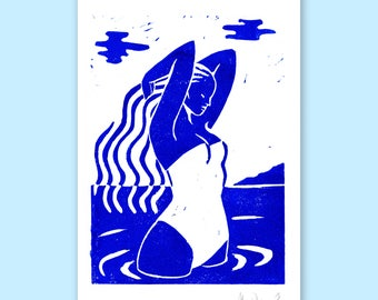 The bather - A5 Linocut print